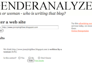 Can this site tell whether a guy or girl is writing your blog?
