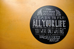 Hand-painted lyrics on old records. Awesome typography.