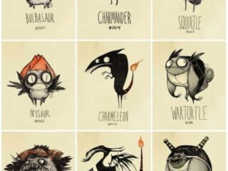 Pokemon as if they existed in the Tim Burton universe